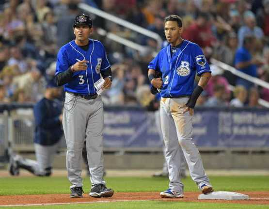 Arcia at third with Shuckers Manager Carlos Subero